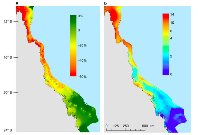 A figure from the study showing the large-scale spatial patterns in the change in coral cover and in heat exposure on the Great Barrier Reef (Australian Research Council Centre of Excellence for Coral Reef Studies)