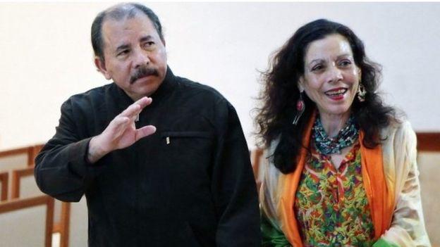 President Ortega with his wife Rosario Murillo.Source:  BBC News