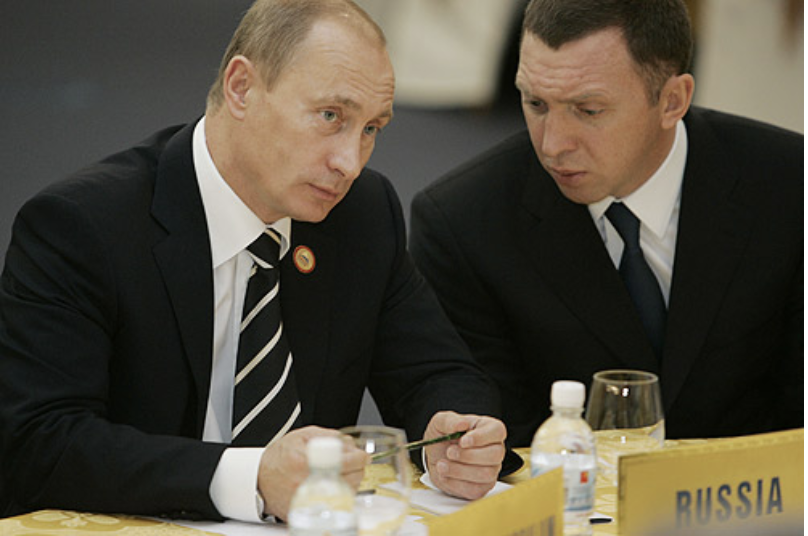 Russian President Putin and Rusal's Deripaska; Credit: Wikimedia Commons