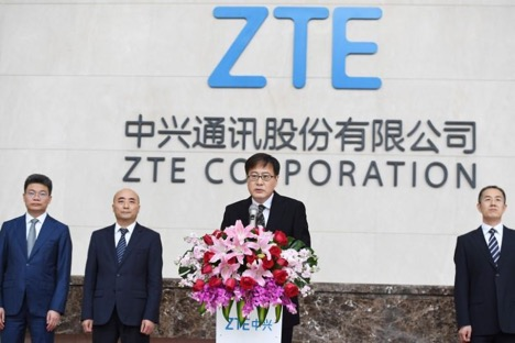 ZTE Corp's Chairman Yin Yimin speaks at a news conference at ZTE's headquarters in Shenzhen, Guangdong province, China. April 20, 2018. (Chen Wen/CNS via REUTERS)