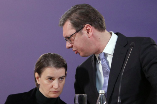 [File photo of Serbian Prime Minister Ana Brnabic (left) and Serbian President Aleksander Vucic. Photo: Andrej Cukic (EPA-EFE)]