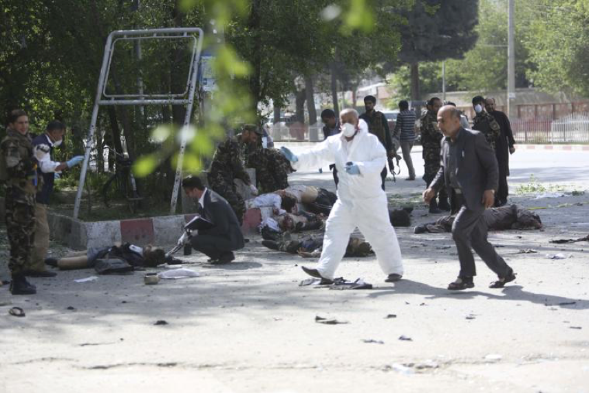 (Victims following the second blast in Kabul that targeted journalists and medical workers on Monday morning ; Credit: The Brownsville Herald, April 30th, 2018).