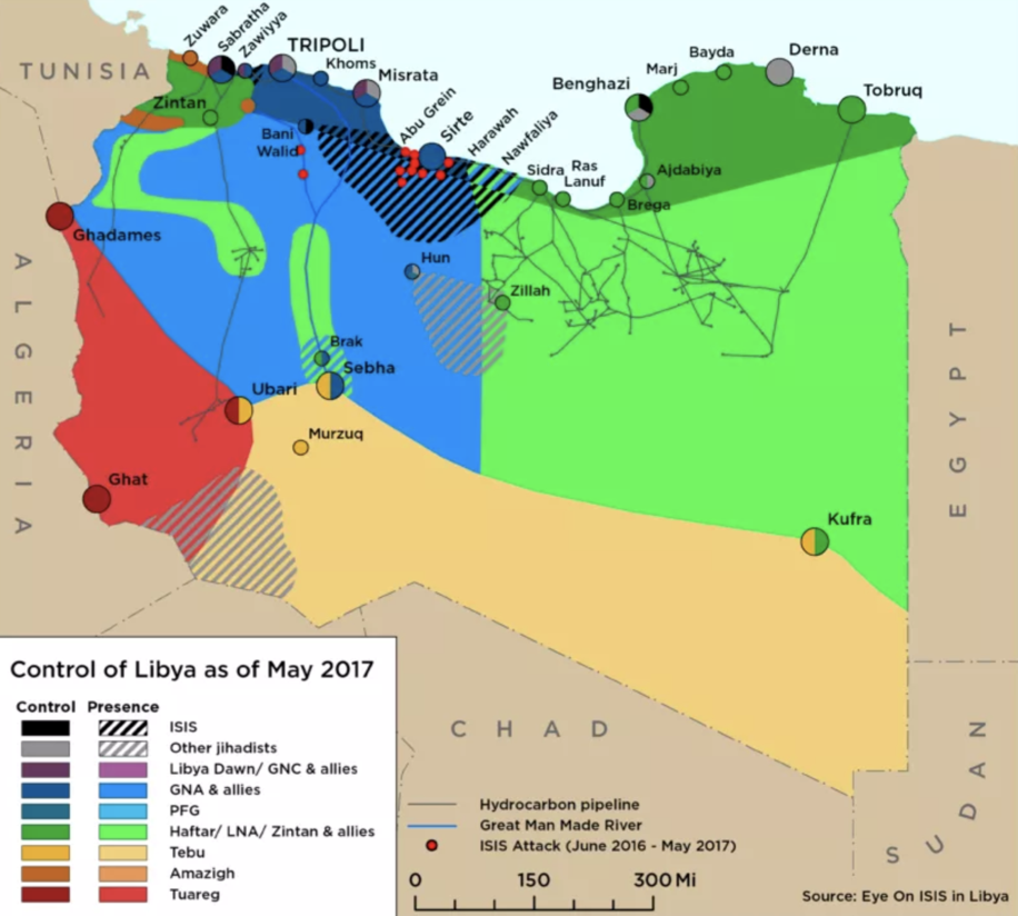 Map showing who controls which parts of Libya.  Source .