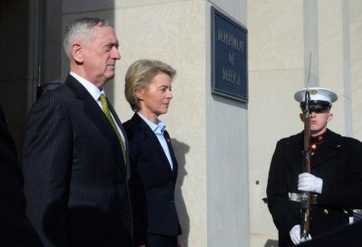 US Secretary of Defense James Mattis (left) and German Federal Minister of Defense Ursula von der Leyen (CDU) at the Pentagon on Feb. 16, 2018. Photo: AFP