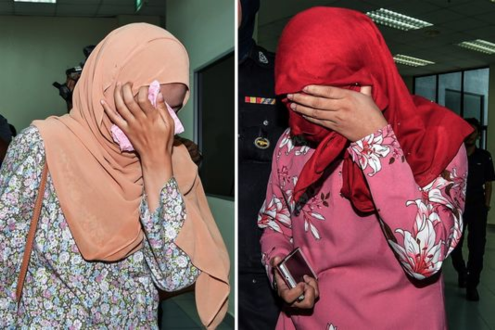 Two lesbian women who were publicly caned six times on Sept. 3, 2018, in Malaysia. (Source: USA Today)