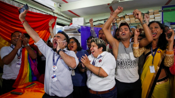 Members and supporters of the LGBTQ community celebrate at an NGO in Mumbai post the SC Verdict (Source: Reuters)