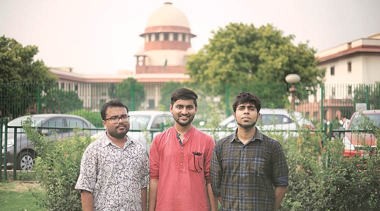 (From left to right) Debottam Saha, Anwesh Pokkuluri, Ashris Choudhury are three of the several who petitioned to decriminalize gay-sex in the Supreme Court (Source: Indian Express)