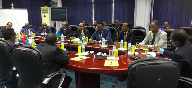 Joint High-Level Committee of Eritrea, Ethiopia, and Somalia meeting with Djibouti foreign minister, Mahmoud Ali Youssouf (Source: TesfaNews)