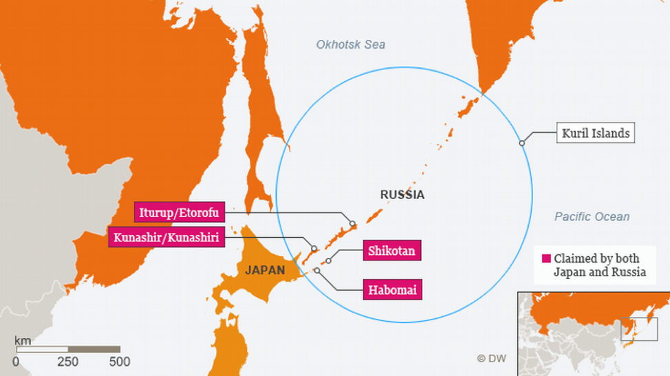 [Map of the four disputed formations in the Kurils. Credit:  Deutsche Welle ]