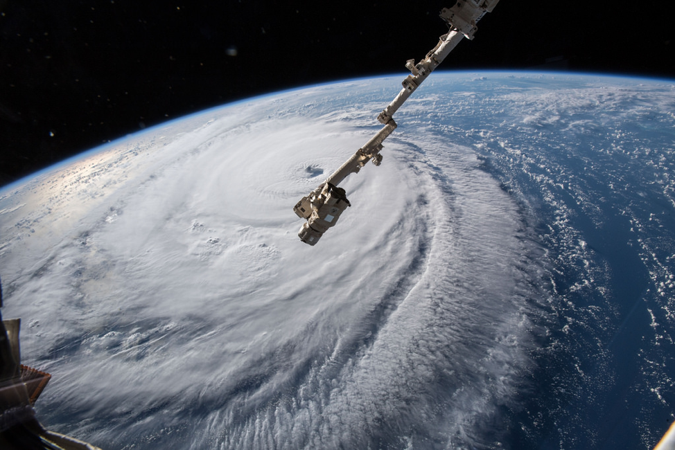 Hurricane Florence as seen from the International Space Station. Source:  Flickr .