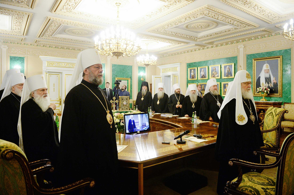 [Photo: The Holy Synod of the Russian Orthodox Church, the governing council of the church chaired by Patriarch of Moscow and all Rus' Kirill (front right), convenes in extraordinary session at the Patriarchal and Synodal residence in St. Daniel's Monastery in Moscow, Russia on Sept. 14, 2018. Source:  Department for External Church Relations, The Russian Orthodox Church ]