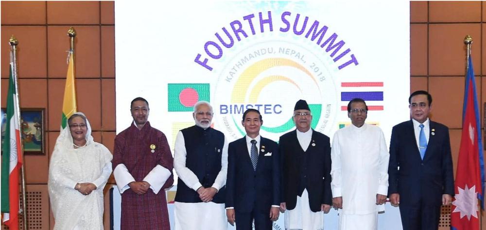 Leaders of the Bangladesh, Bhutan, India, Myanmar, Nepal, Sri Lanka and Thailand at the BIMSTEC Summit 2018 in Kathmandu.