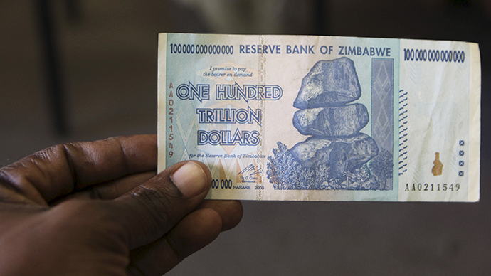 Banknote of 100 trillion Zimbabwe dollars (Credit: Russia Today)