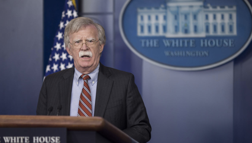 John Bolton speaks during a White House press briefing in Washington, D.C., on Aug. 2, 2018. (Zach Gibson / Bloomberg)