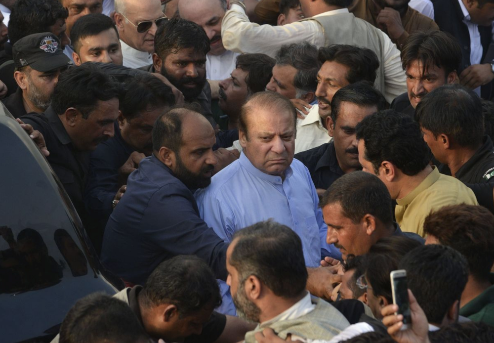 Sharif attending the funeral of his wife, Kulsoom Nawaz, in Lahore earlier this month