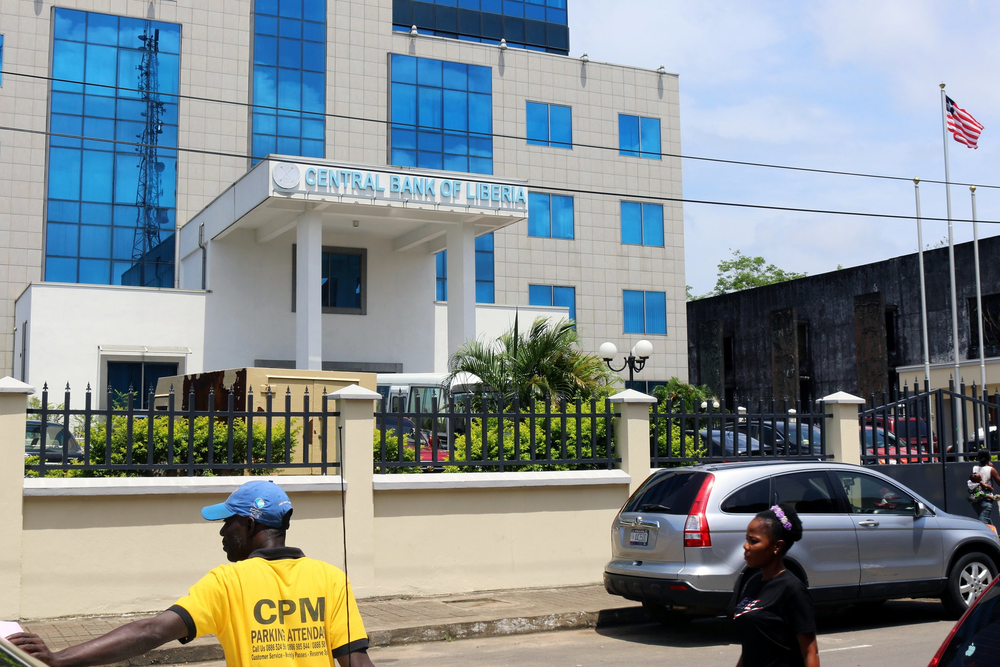 The Central Bank of Liberia headquarters in capital city Monrovia. The Central Bank is responsible for approving the printing of the Liberian dollar, which is minted outside the country.  Credit : James Giyahue via Reuters.