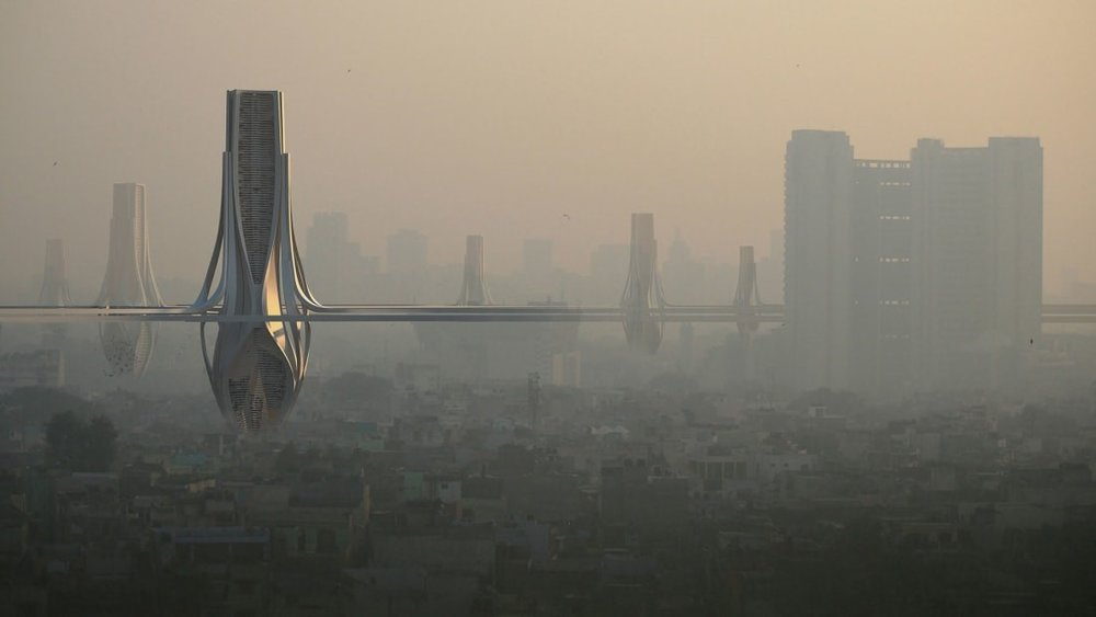 """A rendering of the towers proposed by Znera's """"Smog Project.""""  CNN, Znera Space and R-Code."""