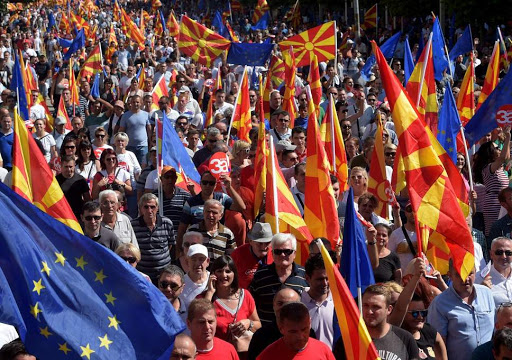 Macedonians rally in the capital of Skopje. Credit: EPA/NAKE BATEV