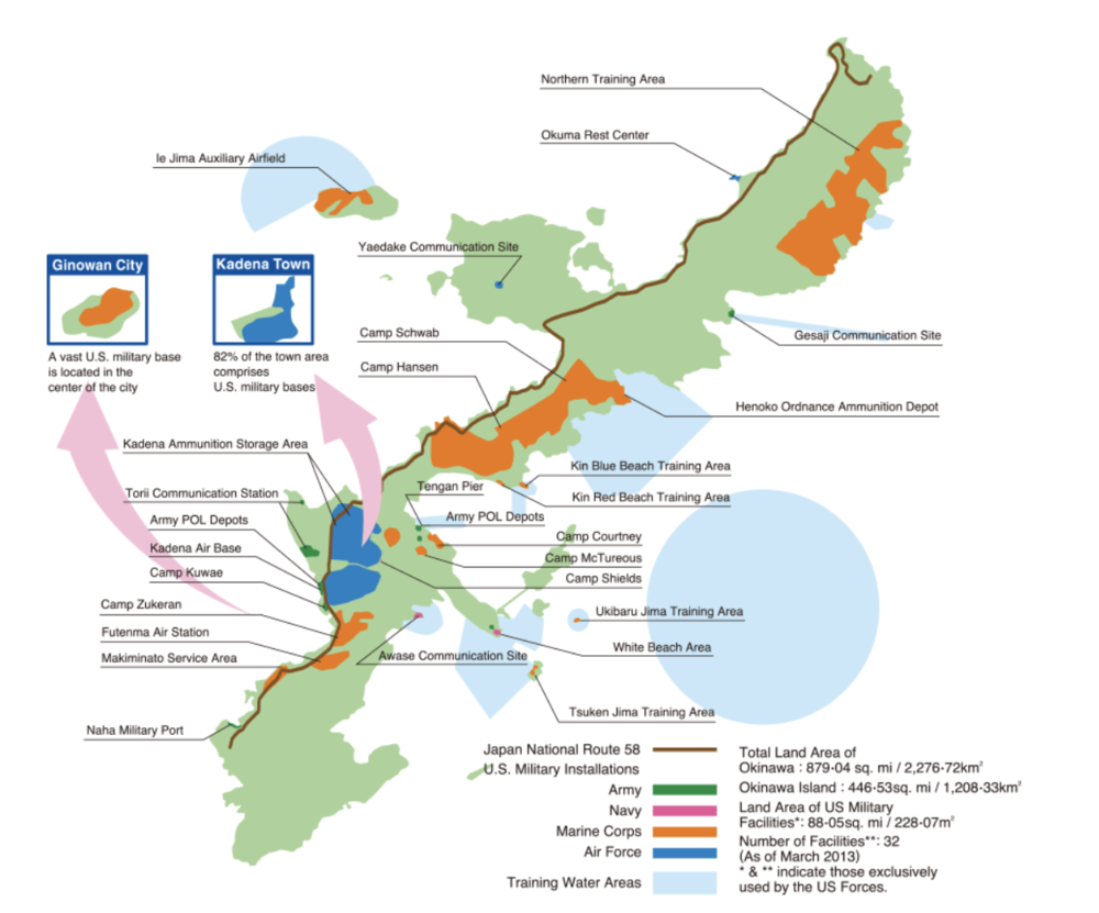 A map of Okinawa island depicting the various US military bases scattered across the island. Credit:  Okinawa Prefectural Government, Washington D.C. Office