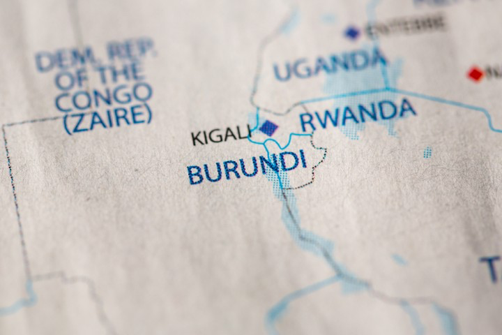 A map of Burundi, located just south of Rwanda. Both nations have a history of tension and violence between ethnic groups, especially the Hutu and Tutsis, which led to the 1994 Rwandan genocide. Photo:  KIOS Foundation .