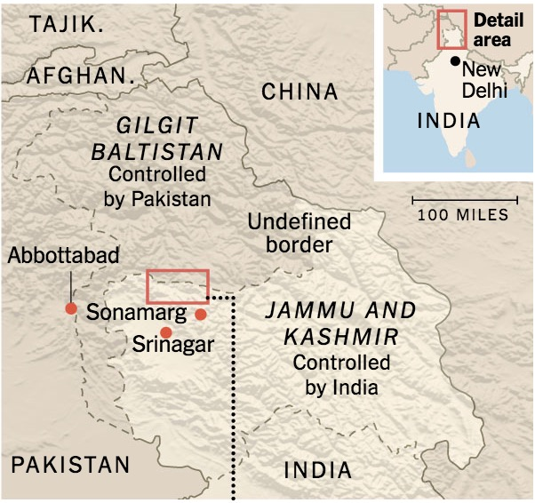 Map depicting the divided regions of Kashmir.  Photo: New York Times