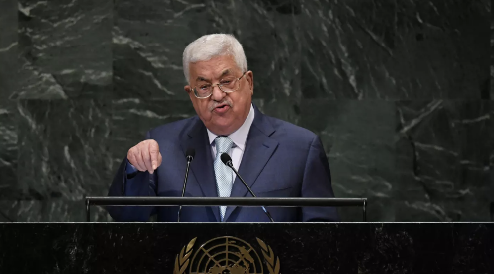 Palestinian President Mahmoud Abbas speaks at the United Nations General Assembly last Thursday. Photo:  AFP