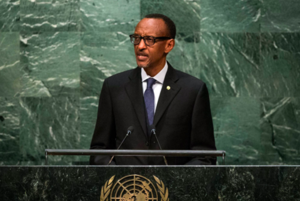 Rwandan President Paul Kagame addresses the United Nations General Assembly. Credit: Cia Pak /  UN .