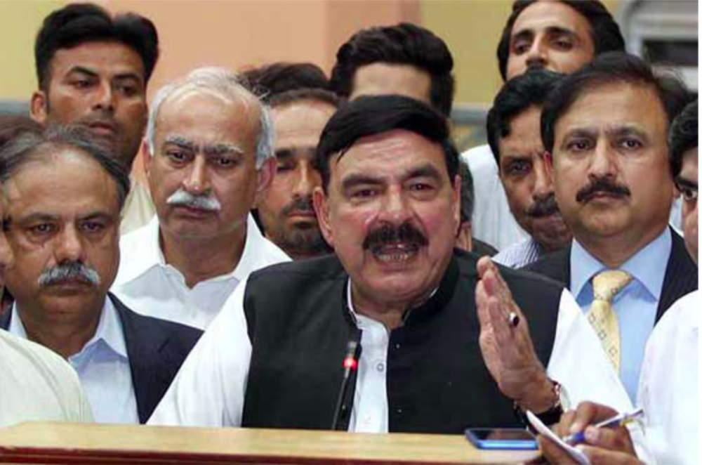 Federal Railways Minister Sheikh Rasheed photographed at a press conference;  Photo: Dunya News