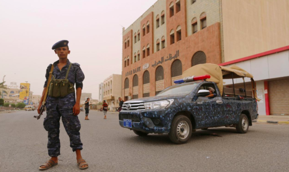A pro-Houthi police trooper in the port city of Hodeidah, Yemen June 14, 2018. Credit:  Reuters /Abduljabbar Zeyad