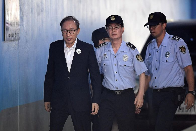 Ex-President of the Republic of Korea Lee Myung-bak at the Seoul Central District Court during his trial last month. Photo:  AFP