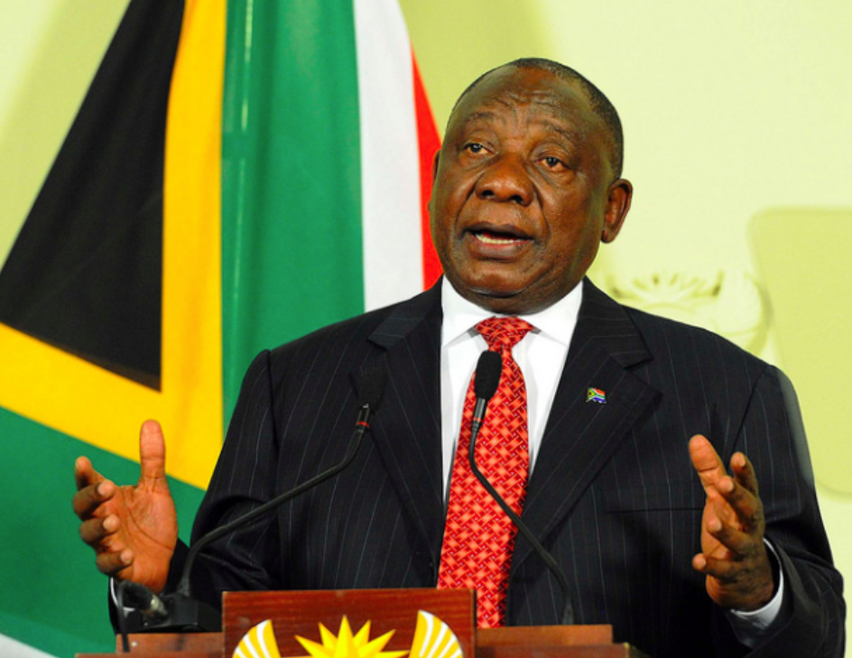 President Cyril Ramaphosa addressing the Jobs Summit in Midrand, South Africa on October 5, 2018. Photo:  ENCA .
