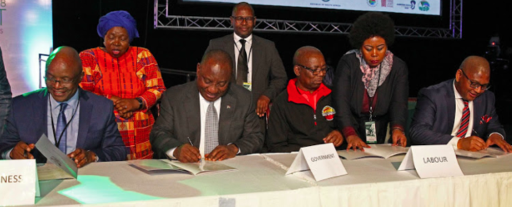 President Ramaphosa signing an agreement with the country's social partners comprising business, labour, government, and community constituencies. Photo: Thapelo Morebudi /  TimesLIVE .