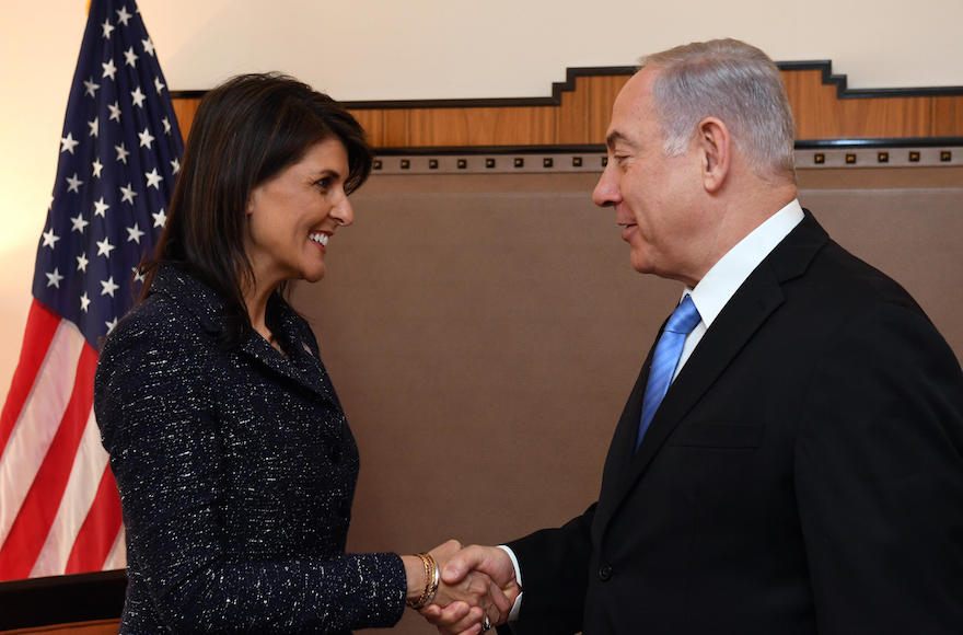 Nikki Haley meets with Israeli President Benjamin Netanyahu during the 2018 U.N. General Assembly   Photo: Haim Zach/Israeli Government Press Office
