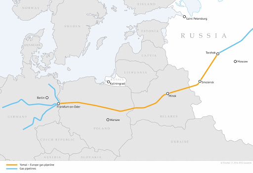 Yamal-Europe Pipeline running through Belarus and controlled by Russian Gazprom. Photo;    Credit: Gazprom