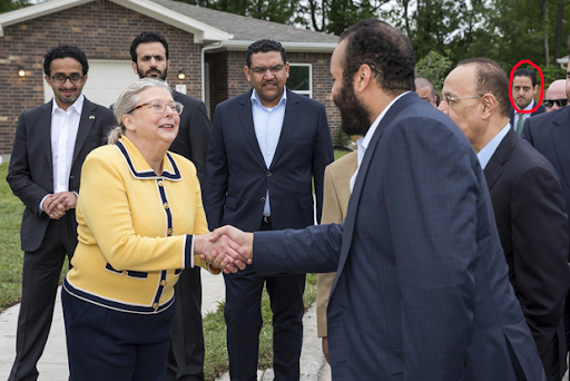 Maher Abdulaziz Mutreb is seen in the far back right as Crown Prince Mohammed bin Salman visits Houston, Texas   Credit: AP