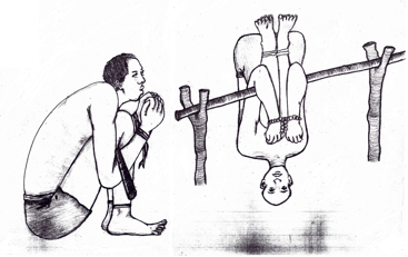 An illustration included in the UNHRC report on Eritrea, drawn by torture survivors.  Photo: OHCHR
