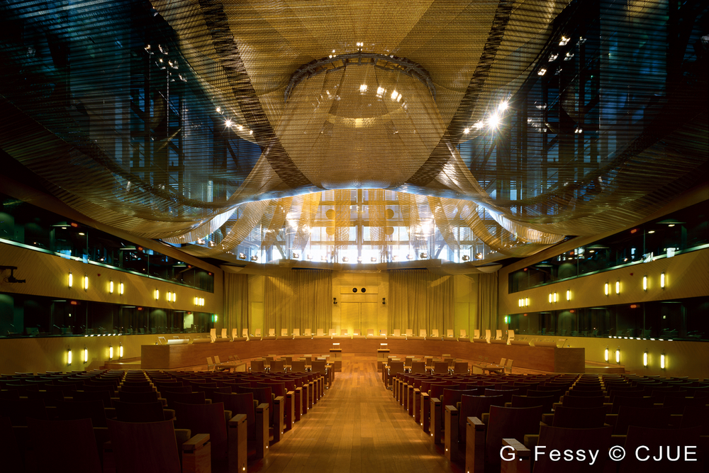 The main courtroom of the Court of Justice of the European Union (ECJ), in the ECJ's Palais building located in the Kirchberg quarter of Luxembourg. Photo:  G. Fessy/Court of Justice of the European Union