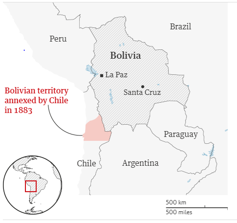 Map of Bolivia and Chile. Source:  Guardian