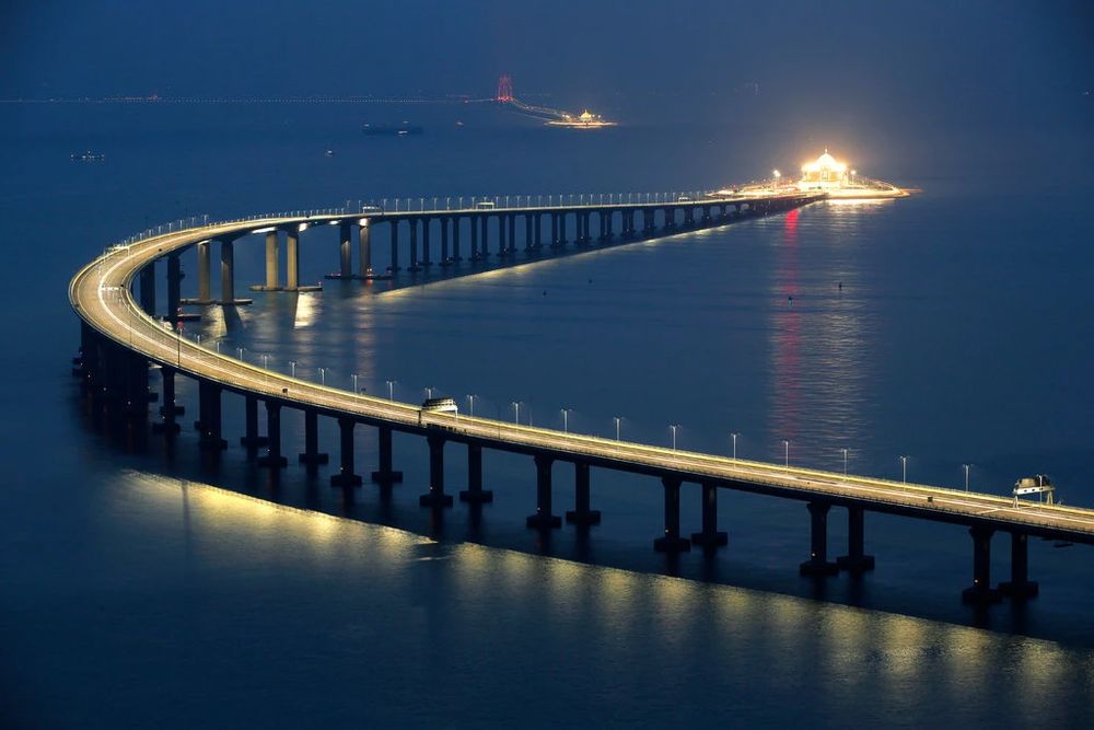 The Hong Kong-Zhuhai-Macau Bridge (HZMB), seen here from the Hong Kong side of the crossing, stretches 34 miles (55 kilometers) across the Pearl River Delta, connecting three major economic regions in southern China. Photo:  Kin Cheung/AP