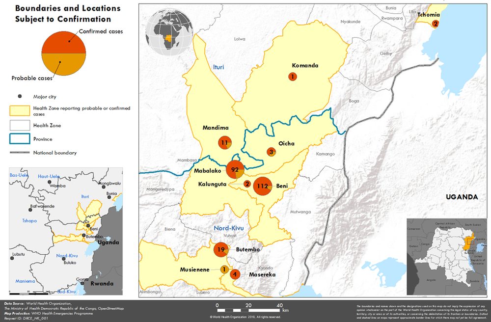 Map of the cases affecting the North Kivu region of the DRC. Photo:  WHO