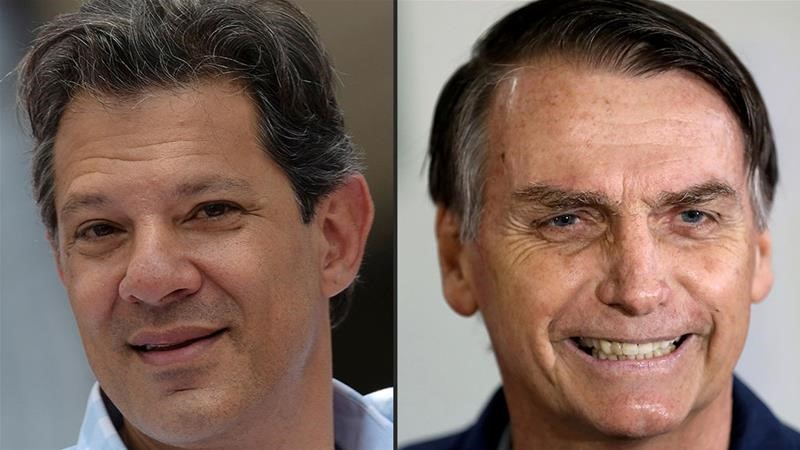 Presidential candidates Fernando Haddad (left) and Jair Bolsonaro (right). Polls predict right-wing Bolsonaro will win with nearly 60 percent of the runoff vote. Photo:  Washington Alves/Ricardo Moraes/Reuters via Al Jazeera .