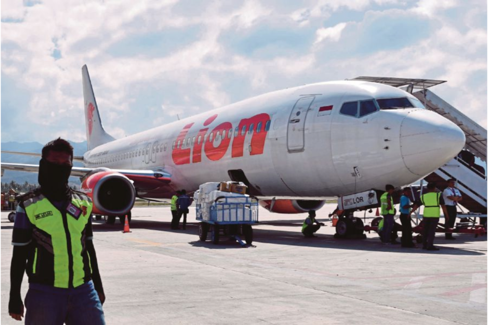 A photo of a Lion Air Boeing 737-800 airplane at the Mutiara Sis Al Jufri Airport in Palu, Indonesia on October 10, 2018. Source: AFP /  New Straits Times