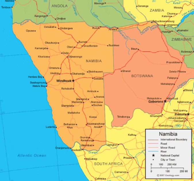 Namibia still suffers from the effects of South African rule prior to gaining independence. Photo:  Geology.com
