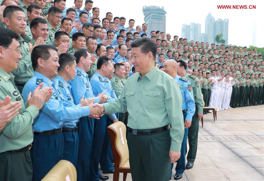 President of China, General Secretary of the Communist Party of China, and Chairman of the Central Military Commission Xi Jinping shakes hands with high-ranking officers of the People's Liberation Army during an inspection of the PLA's Southern Theater Command on Oct. 26, 2018. Credit:  Xinhua