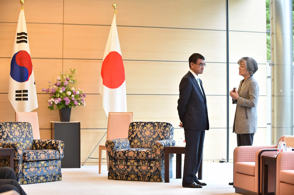 Japan's Minister for Foreign Affairs Taro Kono (left) meets with his South Korean counterpart Kang Kyung-wha in Tokyo in May 2018. Credit:  Reuters