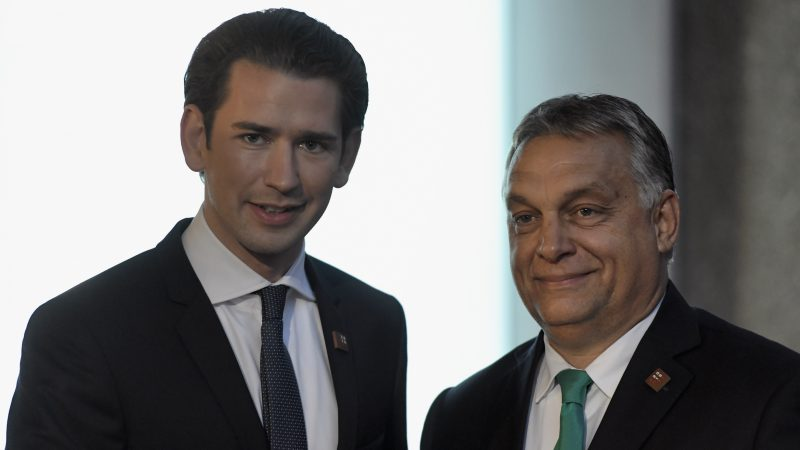 Federal Chancellor of Austria Sebastian Kurz (left) and Prime Minister of Hungary Viktor Orbán arrive for dinner at Felsenreitschule theater during an informal European Union summit in Salzburg, Austria, on Sept. 19, 2018. Credit:  Christian Bruna/EPA/EFE
