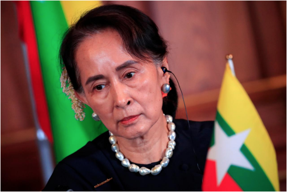 Myanmar leader Aung San Suu Kyi at a joint news conference of the Japan-Mekong Summit Meeting at the Akasaka Palace State Guest House in Tokyo, Japan. October 9, 2018. Source: Franck Robichon /  Reuters
