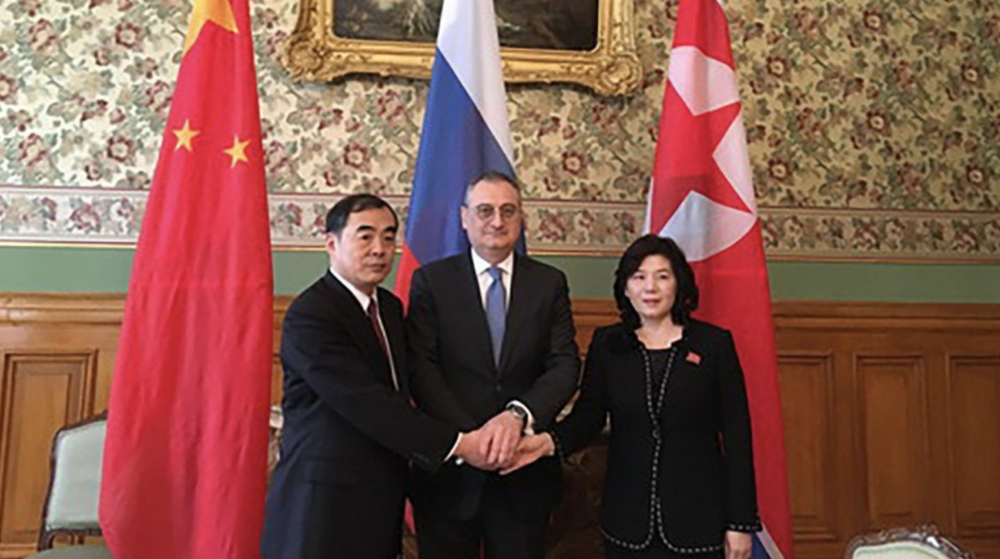 Chinese foreign affairs vice-minister Kong Xuanyou (left), Russian deputy foreign minister Igor Morgulov (center), and North Korean foreign affairs vice-minister Choe Son-hui (right) meet in Moscow on Oct. 10, 2018. Credit:   South China Morning Post  .