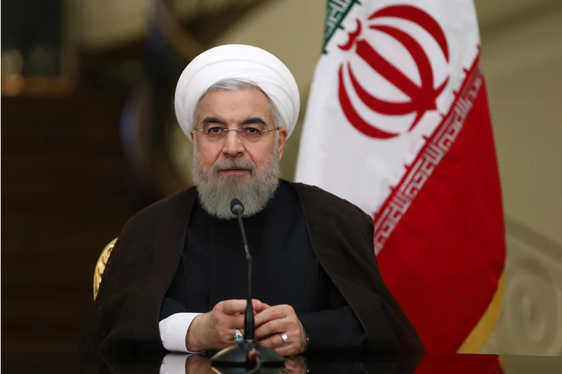 Iranian President Hassan Rouhani speaks in a press conference with the Austrian Prime Minister in 2015  Photo:  Ebrahim Noroozi/AP