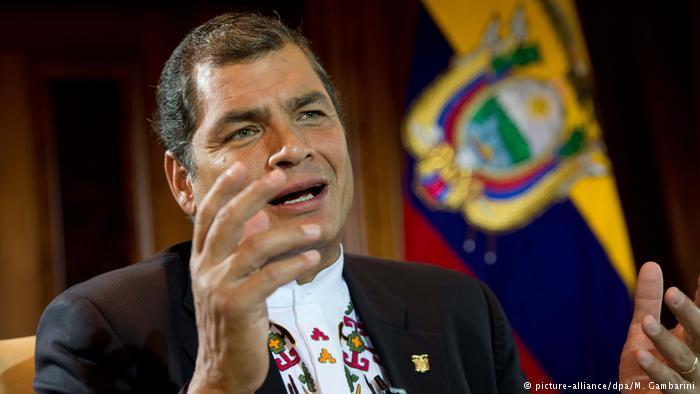 Former President of Ecuador Rafael Correa.  Photo:  M. Gambarini/Deutsche Welle via dpa